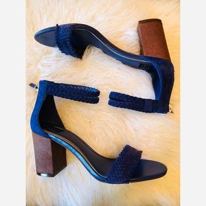 White House Black Market blue suede chunky heels